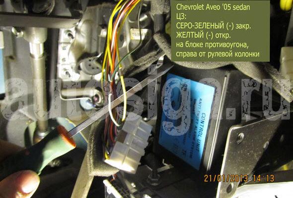 Установка сигнализации Chevrolet Aveo, точки подключения Шевроле Авео - StarLine A91